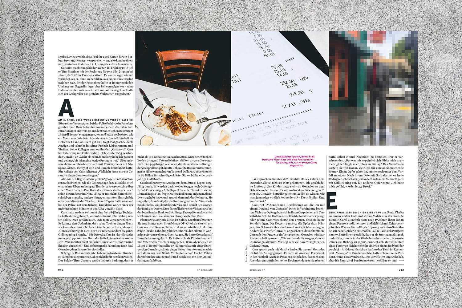 PATRICK STRATTNER PHOTOGRAPHY | TEAR SHEETS | Dine-and-Dash Date / STERN Crime