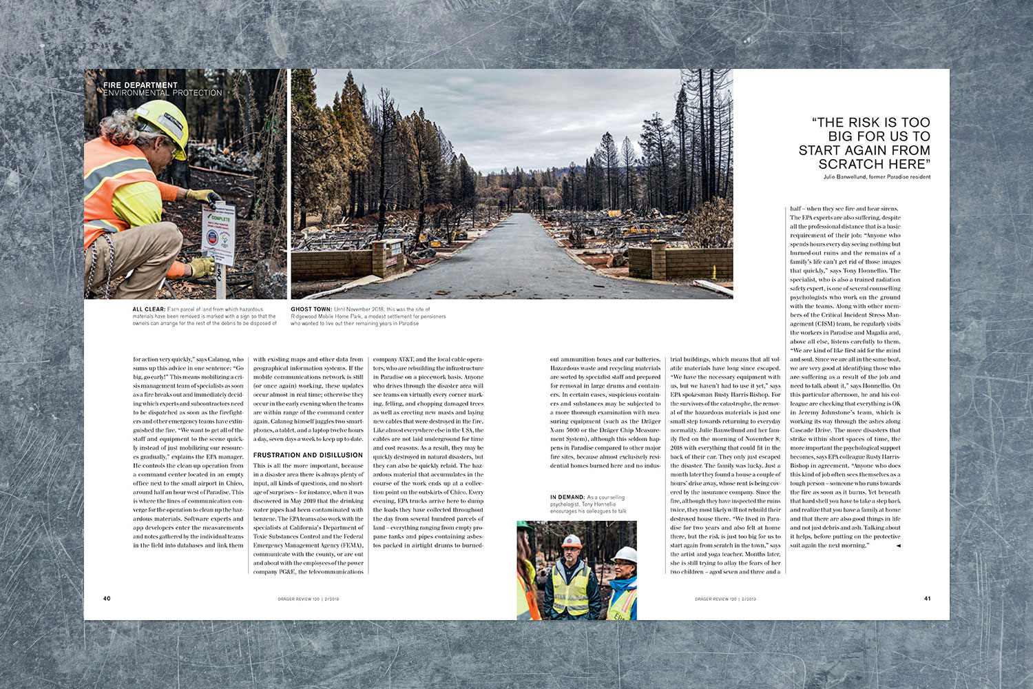 PATRICK STRATTNER PHOTOGRAPHY | TEAR SHEETS | EPA work after the Camp Fire / Dräger