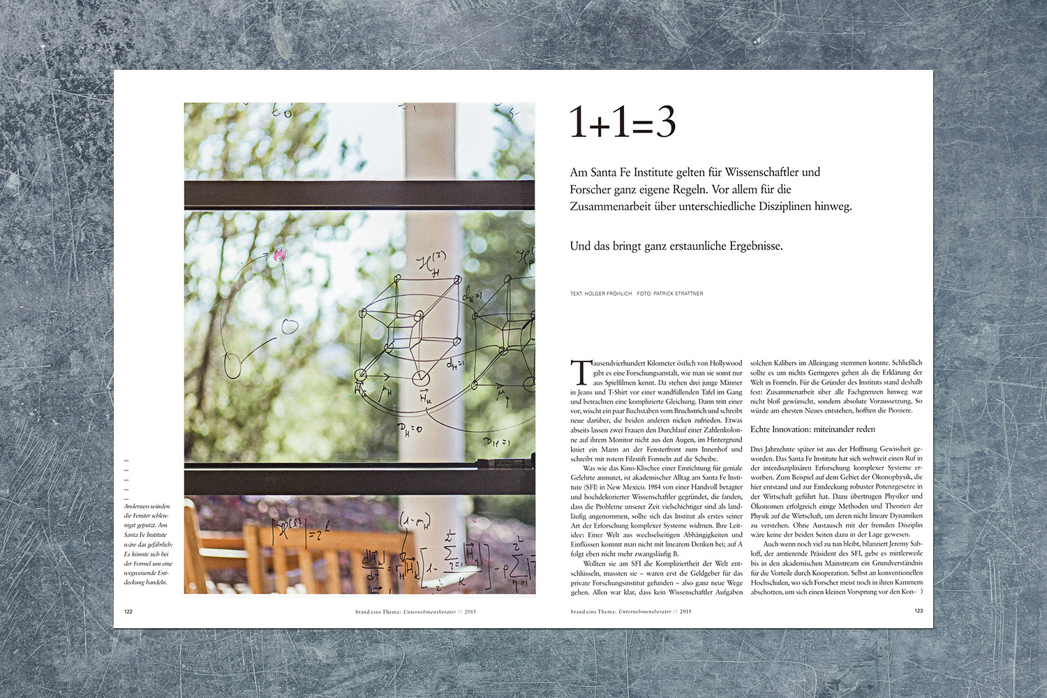 PATRICK STRATTNER PHOTOGRAPHY | TEAR SHEETS | Santa Fe Institute / brand eins Thema