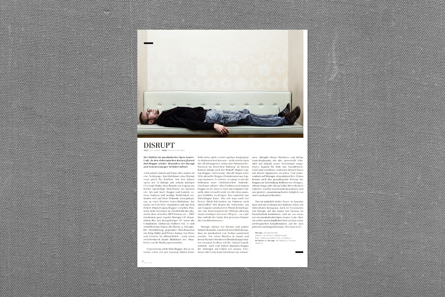 PATRICK STRATTNER PHOTOGRAPHY | TEAR SHEETS | Disrupt / spex