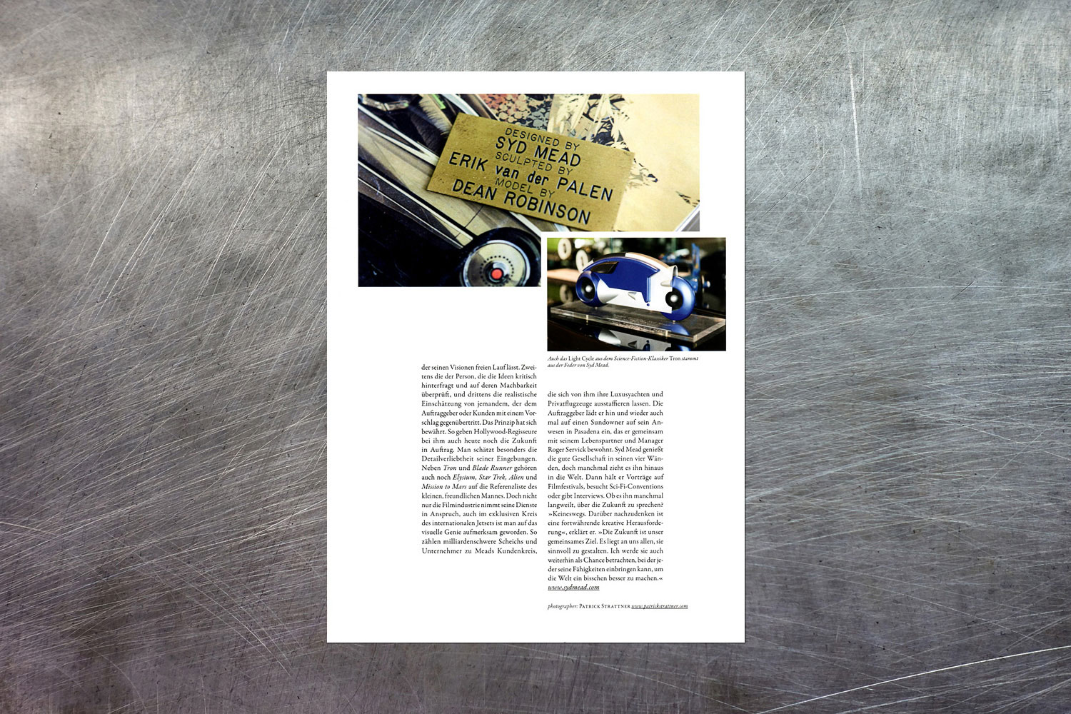 PATRICK STRATTNER PHOTOGRAPHY | TEAR SHEETS | Syd Mead / LOVED & FOUND.