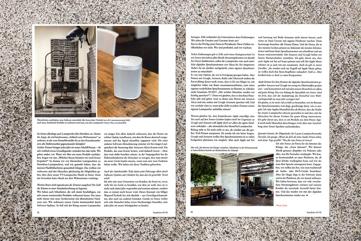 PATRICK STRATTNER PHOTOGRAPHY | TEAR SHEETS | SONOS / brand eins